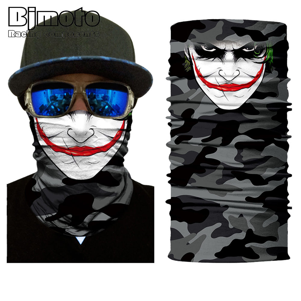 BJMOTO Horrific Smile Face Mask Motorcycle Skull Balaclavas Biker Neck Protector Mask Multifunctional Seamless Bandana