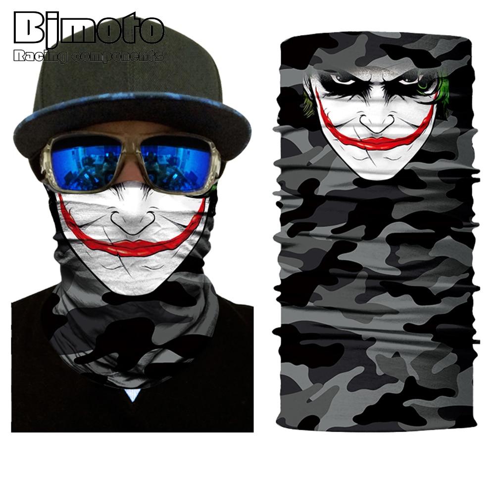 BJMOTO Horrific Smile Face Mask Motorcycle Skull Balaclavas Biker Neck Protector Mask Multifunctional Seamless Bandana