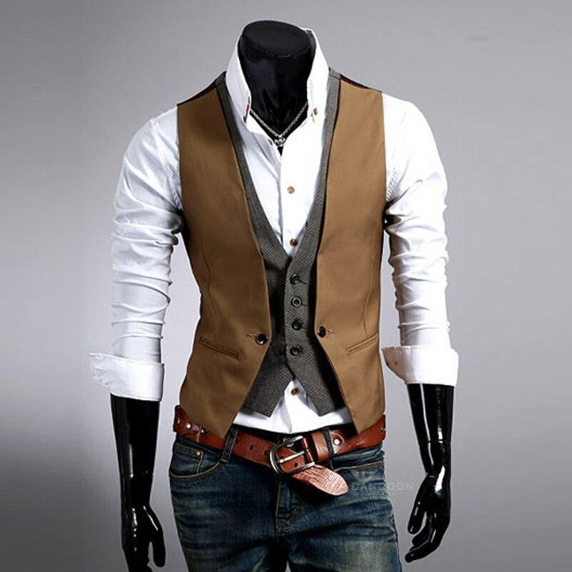 Fashion High quality Men Vest Mens Casual Suit V necked Slim Fit Vests khaki black Asian
