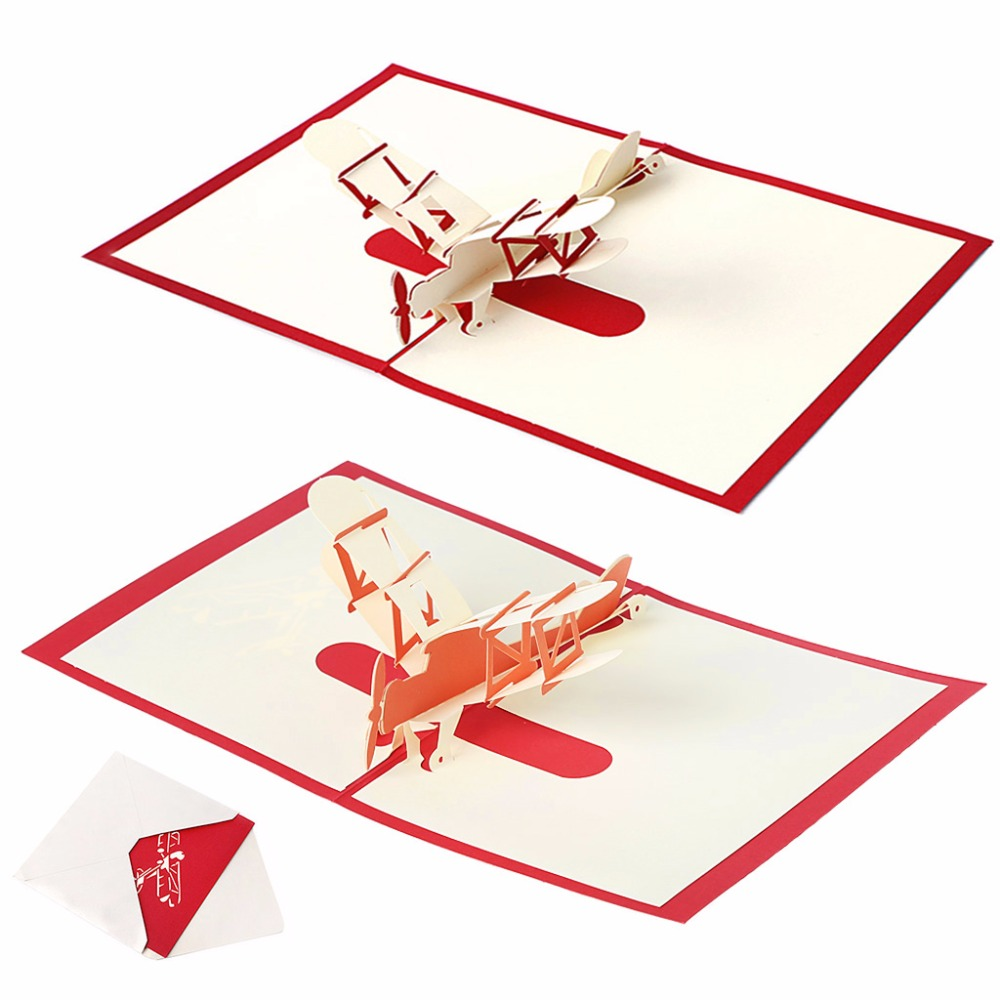 3D Pop UP Holiday Greeting Cards Paper Airplane Christmas ...