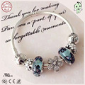 Nice Silver Flower Charm And Blue Silver Butterfliy Pattern Murano Charm Series 925 Sterling Silver Bracelet With Bowknot Clasp