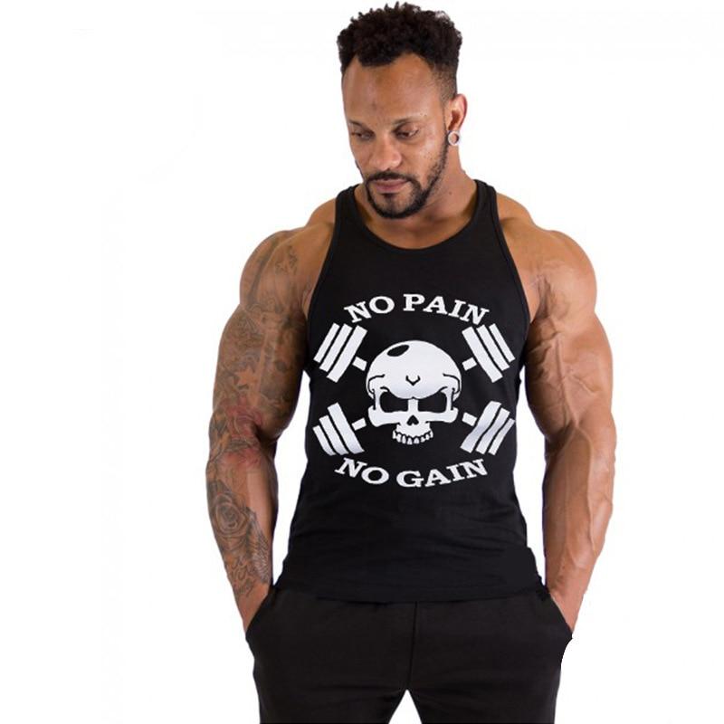 Men Professional Models Tank Tops Strong Man No Pain No Gain Vest Man's Cotton Casual Skull Tank Clothing