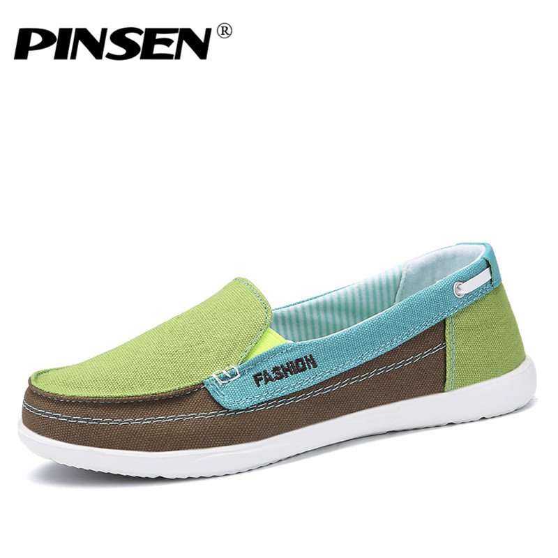PINSEN 2018 Autumn Women Canvas Shoes Woman Slip-on Loafers Shoes Women Flats Tennis Shoes Ladies Breathable Flat Boat Shoes high quality women flats slip on fashion flower shoes loafers woman all match pedal autumn flat platform daily girls shoes hc82