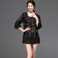 Vintage Black Women Hollow Out Lace Shirt Top Round Neck 3/4 Sleeve Loose Embroidery Floral Long Tunic Blouse Plus Size Clothing
