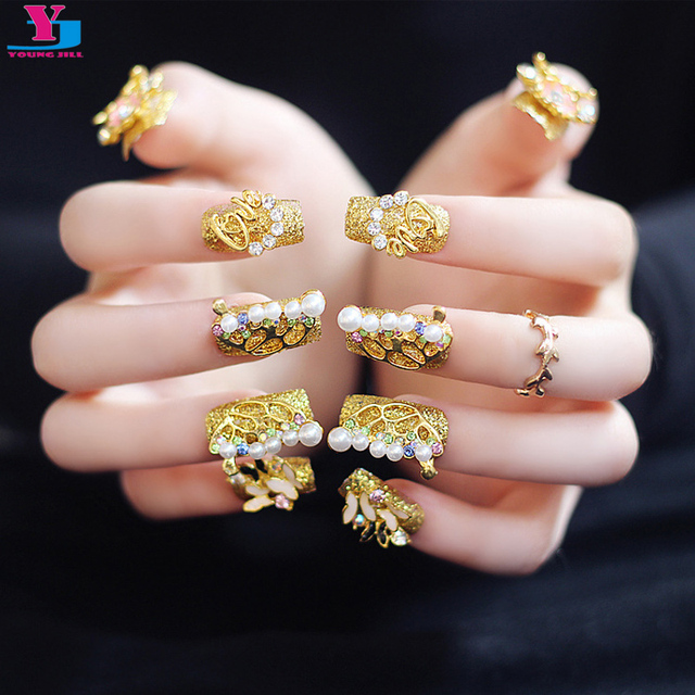3D Luxury Gold Butterfly Metallic Fake False Nails Long Beauty Nep ...