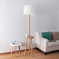 New Nordic Hand Crafted Original Ash Wood Led E27 Floor Lamp With Teapoy For Living Room Study Hotel Hall Deco H170cm 2295