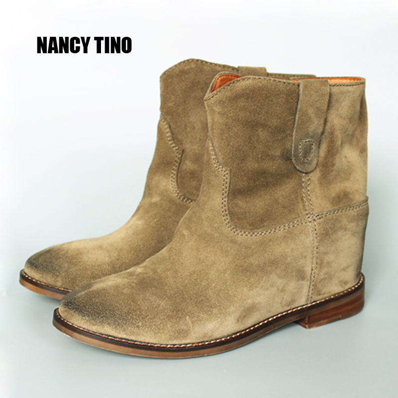 NANCY TINO New Lady Fashion Woman Genuine Nubuck Leather Motorcycle Ankle Style Leisure Boots Spring Autumn
