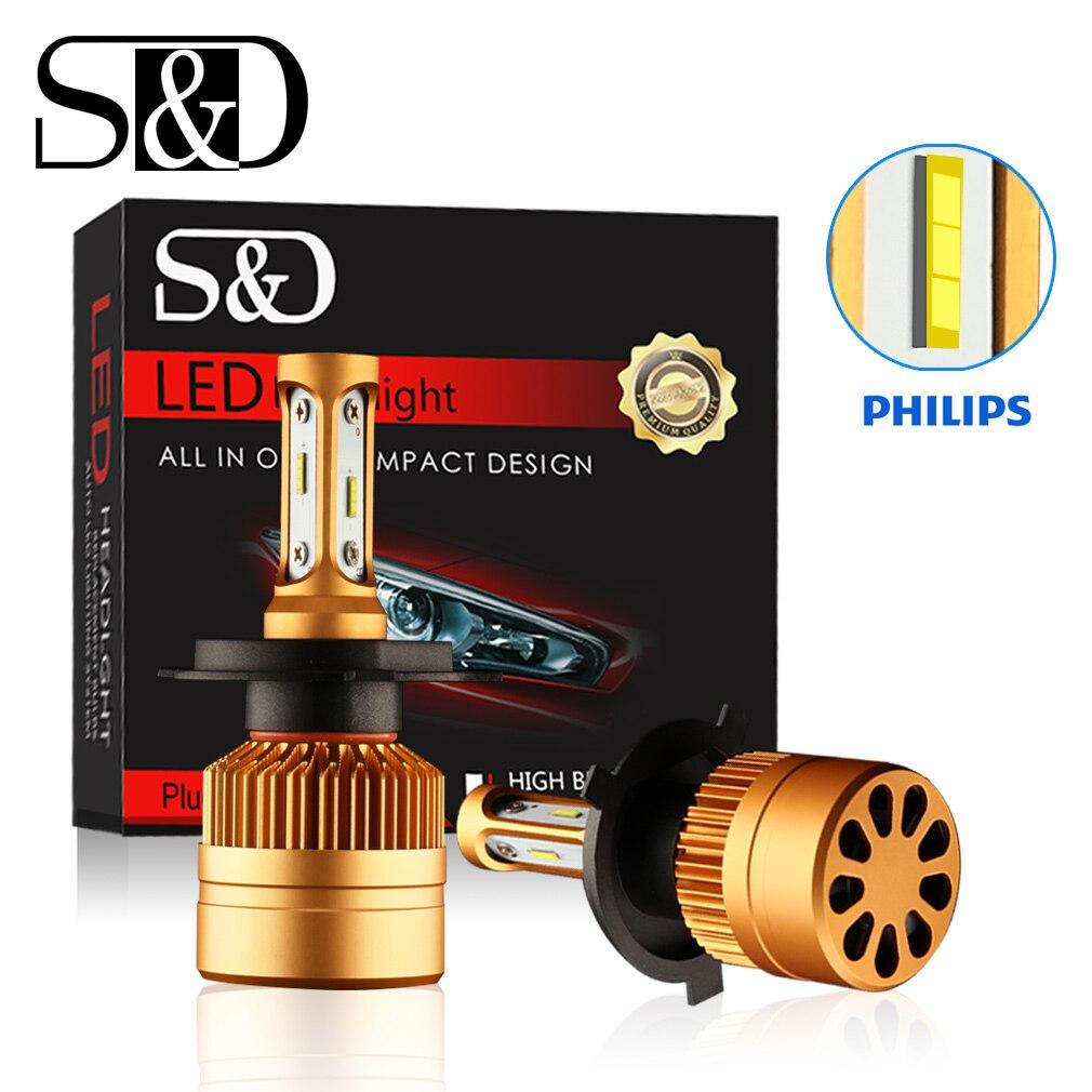 2 Pcs H4 LED H7 H11 H8 9006 HB4 H1 H3 HB3 H9 H27 Phare de voiture Ampoules LED Lampe avec Philips Chip 8000LM Auto Brouillard Lumières 6000 K 12 V