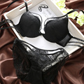 Women underwear New arrival blue glossy aesthetic satin lace print push up lace  bra set brand and sexy high quality