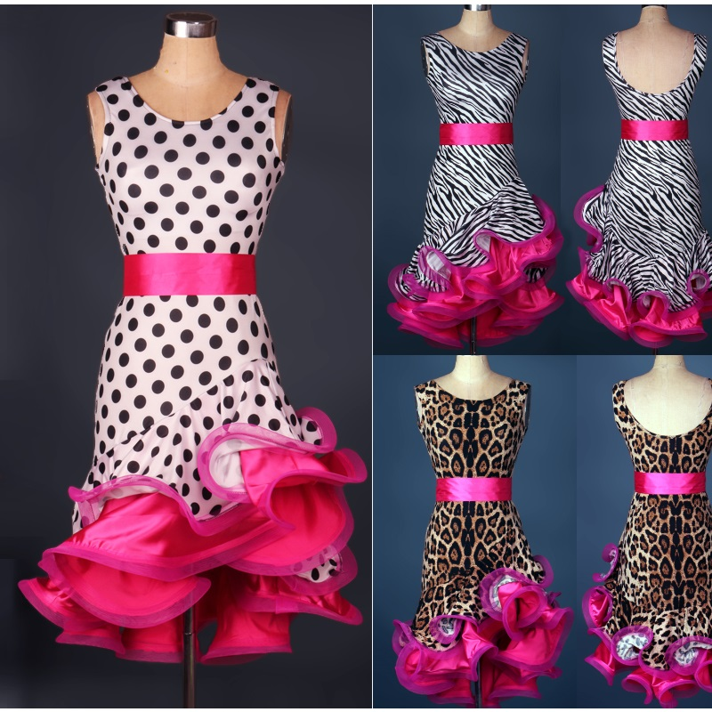 2016 new design polka dot leopard zebra adult girls sexy spandex Latin dance costume women latin