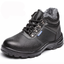 2016 Men Plush Work&Safety Shoes Male Winter Warm Ankle Boots Steel Toe Wear-Resistant Oil Waterproof Black Shoes Big Size 35-46