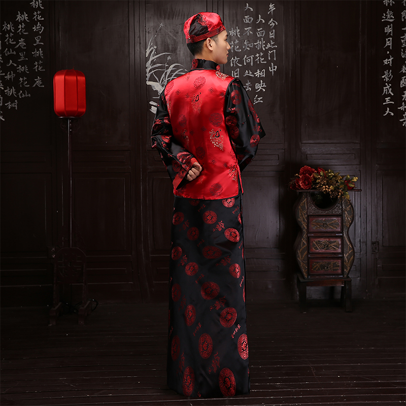 Chinese style show men 39 s suit groom pratensis long sleeve tang suits long gown jacket wedding dress evening dragon Robe gown in Robe amp Gown from Novelty amp Special Use