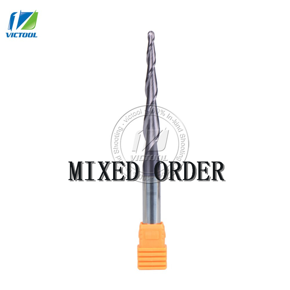 MIXED D8*47*100L*2F 8mm tungsten carbide Ball Nose cone type Tapered End Mill cnc milling cutter tools router bit 2pcs hrc55 tungsten steel carbide double 2 flute end mill bit milling cutter tools ball nose cnc router r4 16 d8 75mm