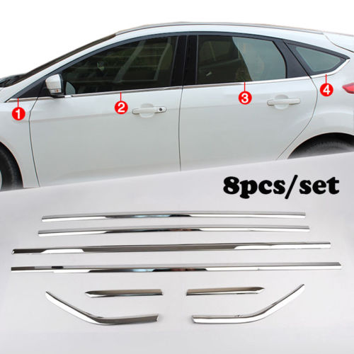 Fit For Ford Focus 12- Hatch Chrome Bottom Window Sill Cover Trim Molding Strip new arrival for lexus rx200t rx450h 2016 2pcs stainless steel chrome rear window sill decorative trims