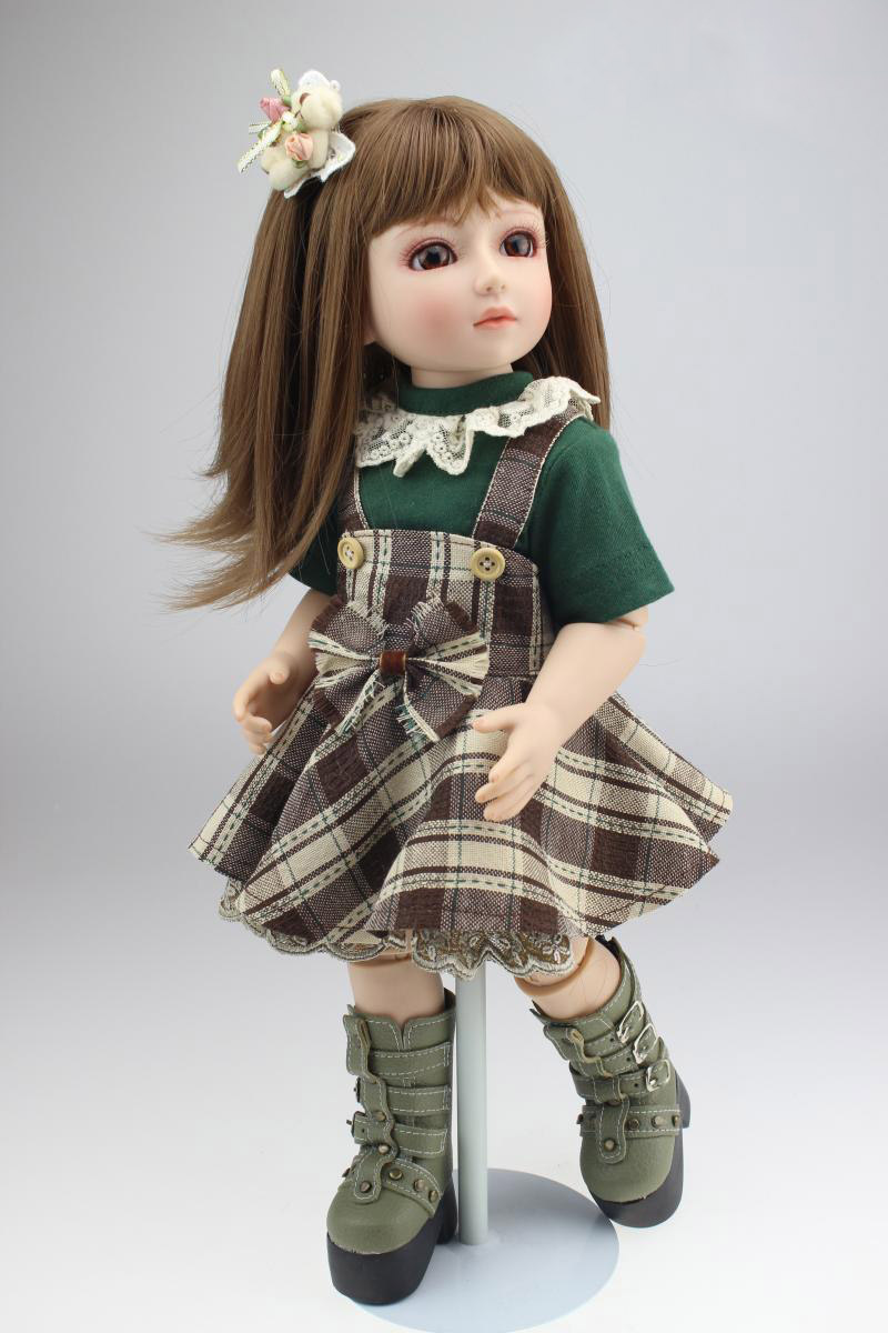 18 Inch 45cm Lifelike SD BJD Doll Toys Vinyl Reborn Baby dolls with dresses KL978 18 inch 45cm new lifelike vinyl reborn baby doll full vinyl sd bjd body dolls with clothes for girls gh587