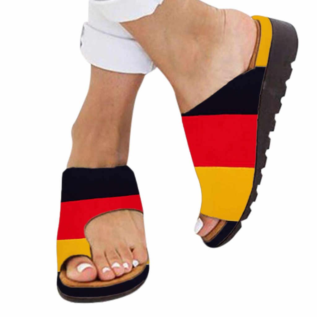 Kadınlar için rahat düz ayakkabı düz platformu bayanlar rahat büyük ayak ayak düzeltme sandalet ortopedik Bunion düzeltici Flip Flop 7J10