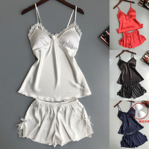 2Pcs Ladies Sexy   Pajama     Sets   Satin Silk Sleepwear Camisole Shorts Women Lingerie Nightdress Pyjamas Suit