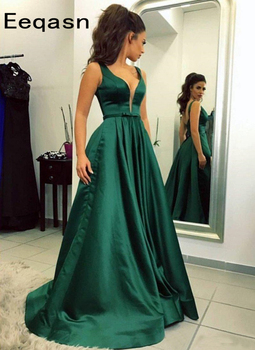 Simple Elegant Evening Dresses with Pockets V Neck Floor Length Green Satin Formal Evening Party Dress for Women 2020