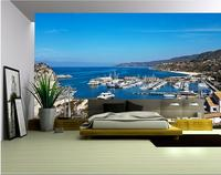 3d Wallpaper Custom Mural Non Woven Wall Sticker 3d Mediterranean Sea Gulf Yacht Scenery Painting Photo