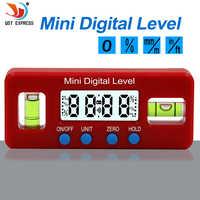 Protractor Digital de precisión roja inclinómetro caja de nivel a prueba de agua buscador de ángulo Digital biselado