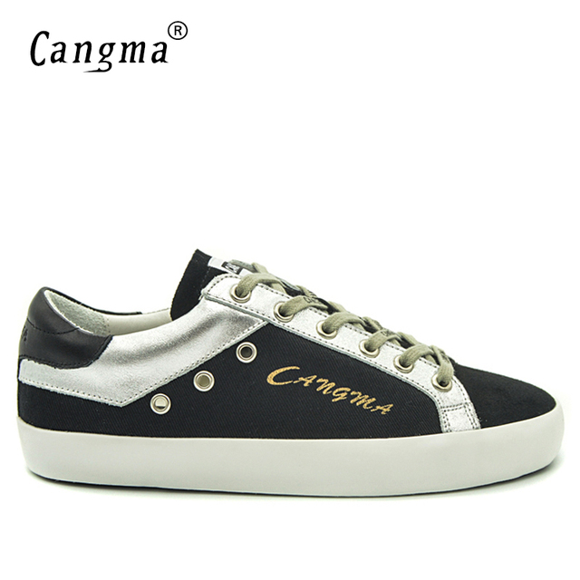 CANGMA Luxury Black Retro Canvas Sneakers Men Shoes Suede Genuine Leather Retro Casual Shoes Man Breathable Adult Footwear Male