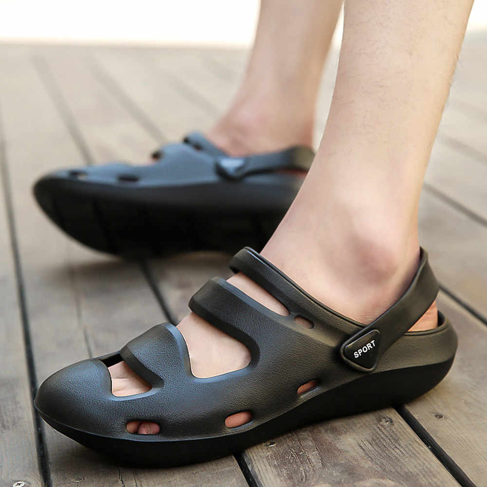 d8cdb4612 Unisex Breathable Casual Outdoor Beach Slippers Comfort Anti-Slip Shower  Sandals 2018 Mens Summer Beach