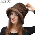 2015 New Knitted Genuine Mink Fur Hat Fashion Women Mink Fur Flower Cap Skullies Winter Warm Mink Fur Headgear Winter Fur Hat