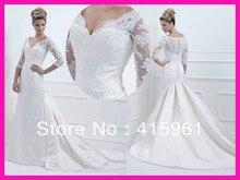 2014 Winter Long Sleeve Beaded Lace Satin Mermaid Bridal Dresses Wedding Gowns W2175