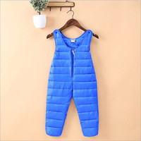 2017 Winter Babys Thick Trousers Girls Warm Bib Pants Kids Long Zipper Boys Blue Bib Overalls