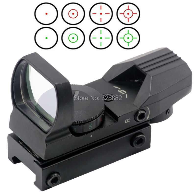 Holographic Sight Scope 20mm/11mm 4 Reticle Red Green Dot Reflex Sight Scopes With Rail Mount For Tactical Hunting Rifle very100 new tactical reflex 3 10x 40 red green dot reticle sight rifle scope