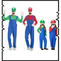 Super Mario Cosplay Costumes Children Family Funy Luigi Bros Plumber Purim Costume Fancy Dress Christmas Party