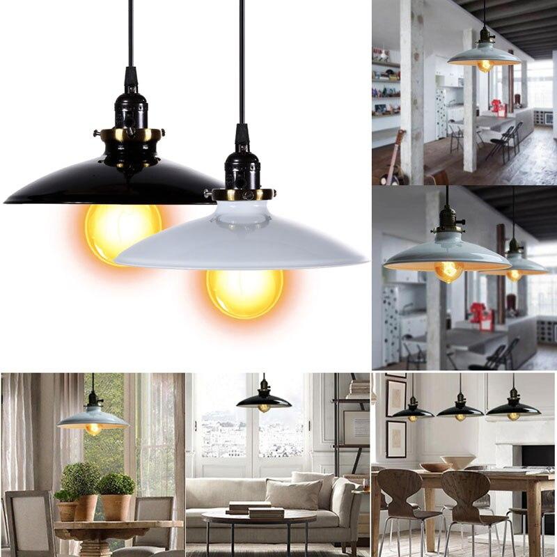 Black/White Iron Vintage pendant lamp Retro Industrial DIY Pendant Lamp Ceiling Lamp Edison Light Fixture Lamp retro matte black iron ceiling light american industrial iron lights