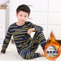 2017 NEW Kids Thermal Underwear Solid Colors 95 Cotton Thick Boys Pyjamas Girls Sets For Winter