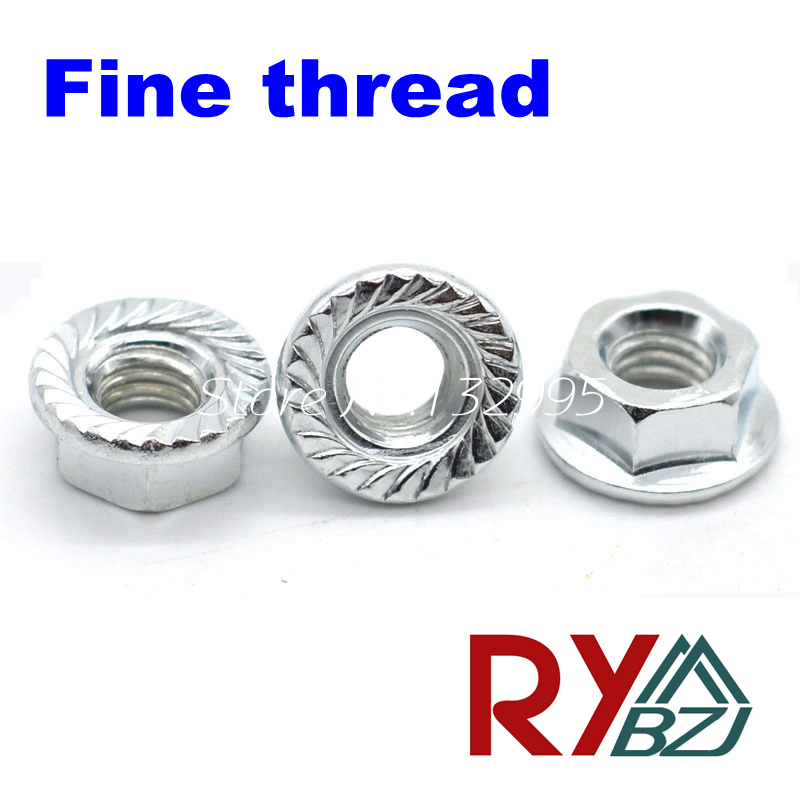 Fine thread Hex Flange nut M8*1.0 M10*1.0 M10*1.25 M12*1.25 M12*1.5 M14*1.5 M16*1.5 Carbon steel zinc plated Lock nut DIN6923