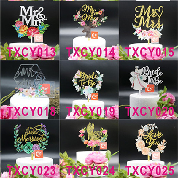 Creative Painted Acrylic Birthday Wedding Cake Topper Flags Baby Shower Birthday Aniversary Party Cake Decor Supplies-0