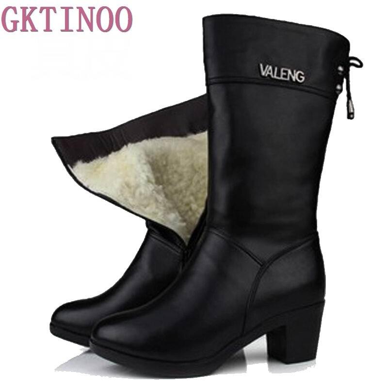 Зимние шерстяные ботинки теплая обувь с мехом внутри Для женщин Высокие каблуки Пояса из натуральной кожи Обувь ручной работы Снегоступы б...