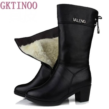 Botas de invierno de piel de lana con tacón alto para mujer, zapatos de piel auténtica, Botas de nieve hechas a mano, calzado