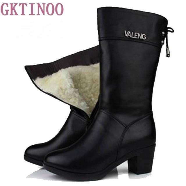 Winter Boots Wool Fur Inside Warm Shoes Women High Heels Genuine Leather Shoes Handmade Snow Boots Footwear Botas