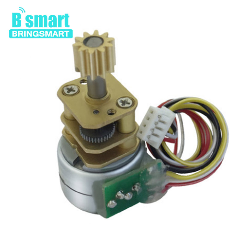 Bringsmart GM15BYS DC Geared Motors 5V with Reduction Ratio 1:100 Mini Stepper Gear Motor 12V Phase 2 and 4 Wire Metal Motor 28byj 48 12v 4 phase 5 wire stepper motor 28byj48 12v gear stepper motor