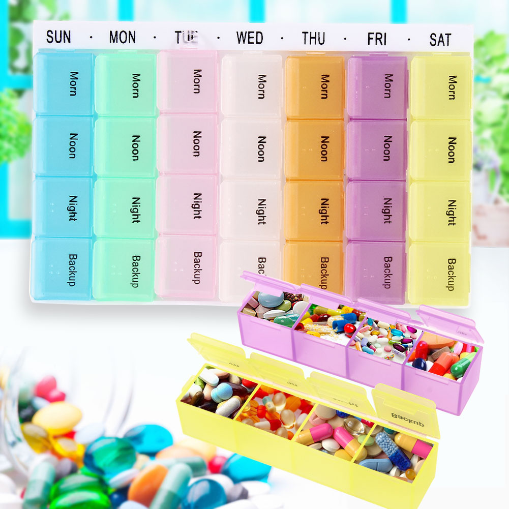 180x115x23mm 28 Slots Plastic Twice-a-day Weekly Pill Organizer Medicine Storage Box Container 7 colors Mini Storage Box