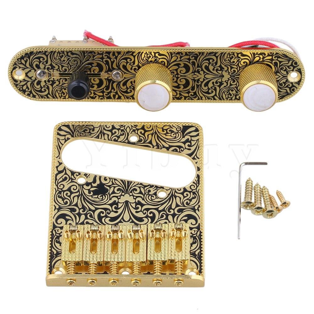 Yibuy Or et Noir Pré-Commande filaire Plaque 3 Way Switch Boutons Tremolo Pont pour Guitare Électrique Remplacement