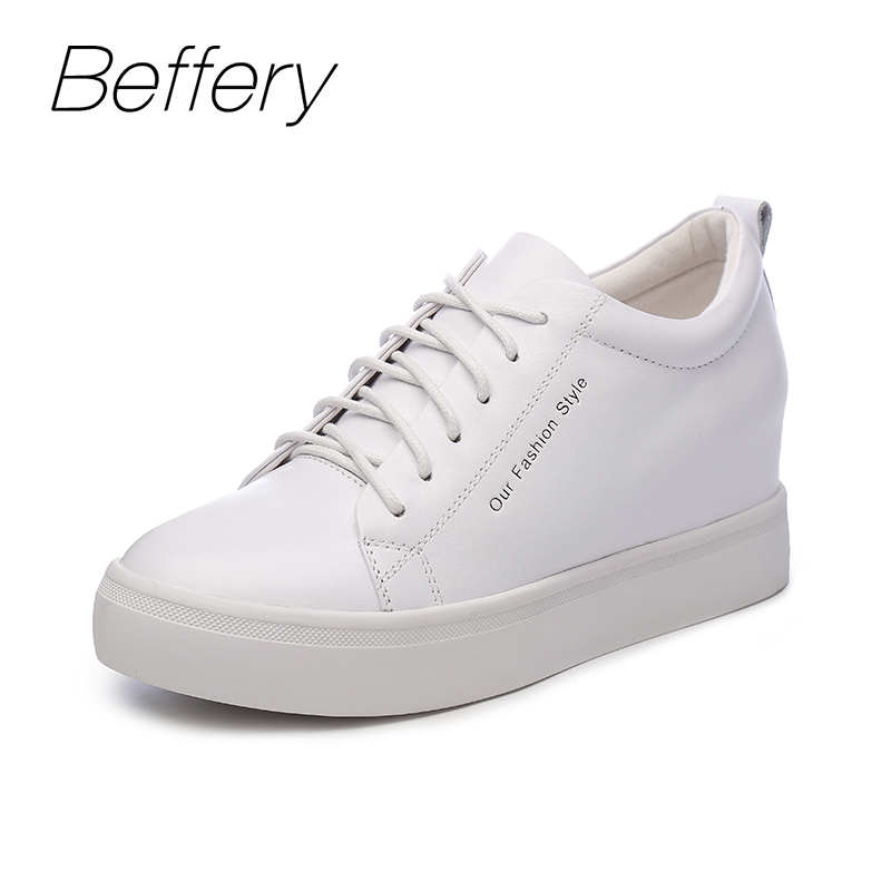 Beffery Spring Genuine Leather Wedge Sneakers Women Lace-up Casual Shoes Fashion High heels Women Platform Shoes A1U1693-2 beffery 2018 new fashion sneakers women genuine leather lace up flat platform shoes for women fashion star casual shoes a1md701
