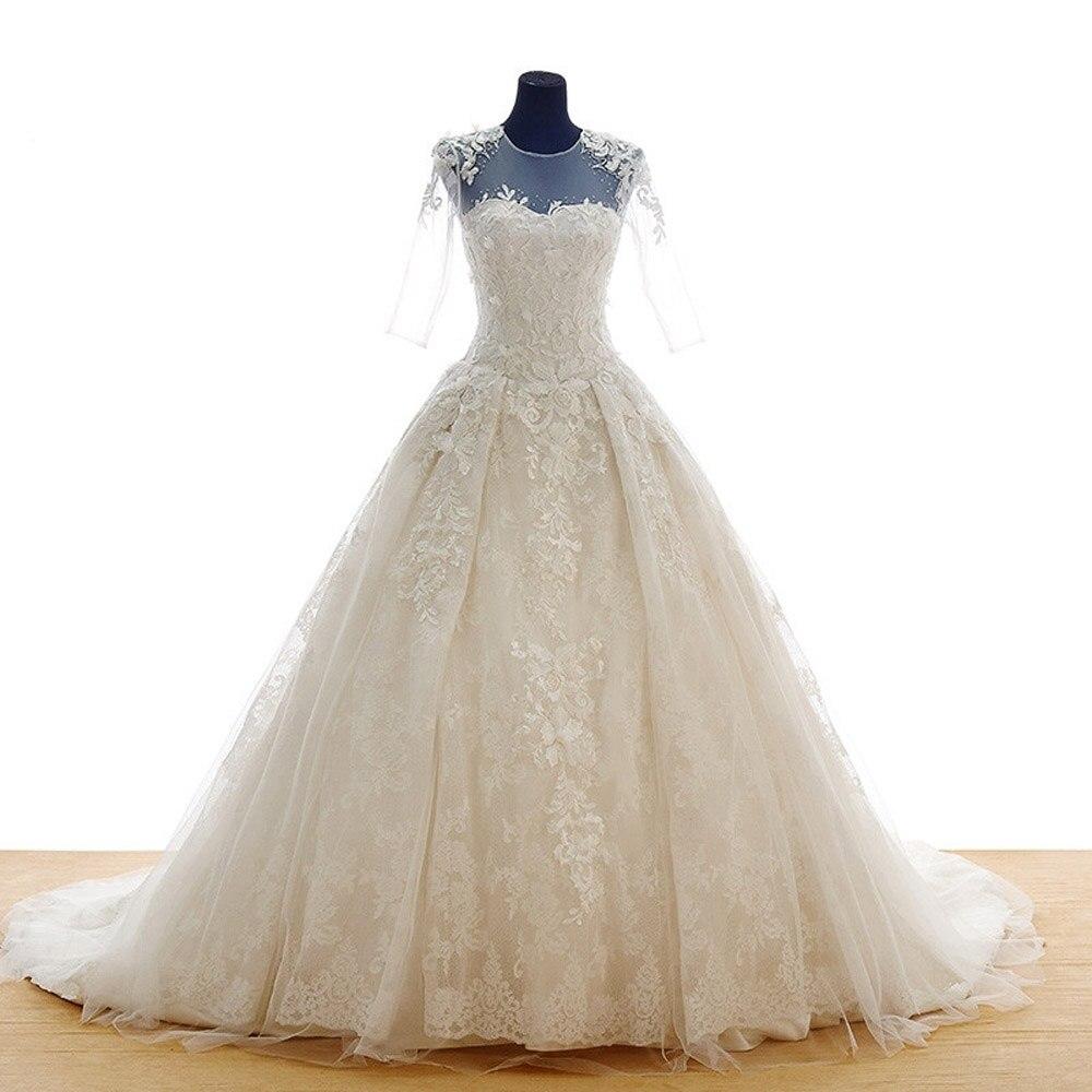7ff23f7257491 صور الفعلية خط س الرقبة نصف الأكمام العاج أبيض طويل الرباط فساتين الزفاف  2016 زائد الحجم بثوب الزفاف S05495