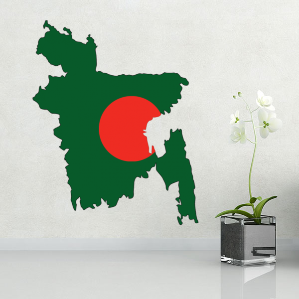 flag map of bangladesh wall vinyl sticker custom made home