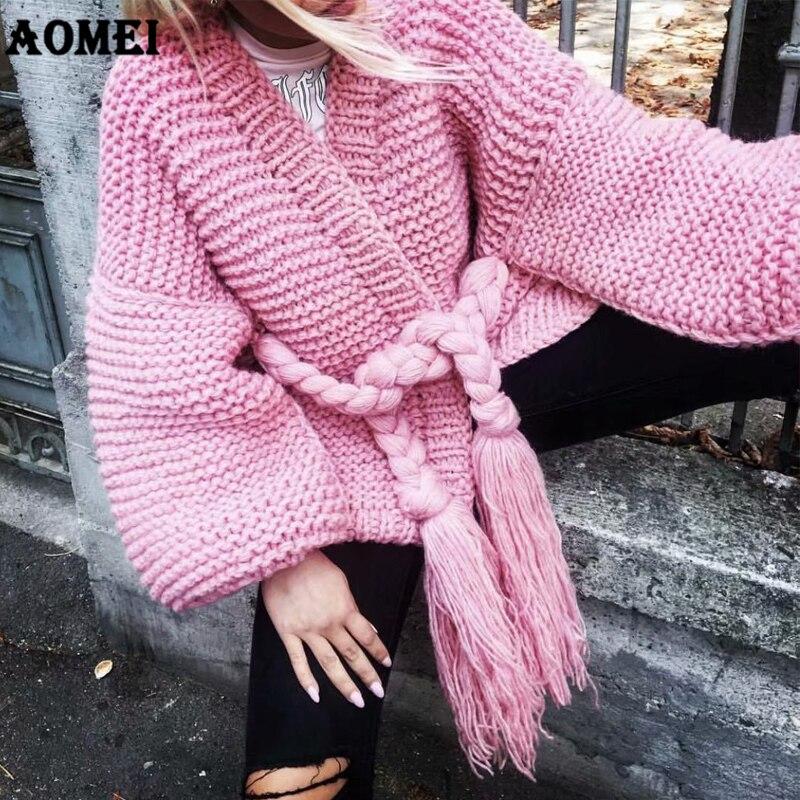 Women Cardigan 2019 Fluffy Sweater Knitted Wool Jackets Handmade with Waist Belt Warm Winter Loose Pink