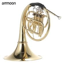 Ammoon французский Рог B/Bb плоский 3 ключа латунный золотой лак Однорядный Сплит духовой инструмент с мельхиором мундштук чехол