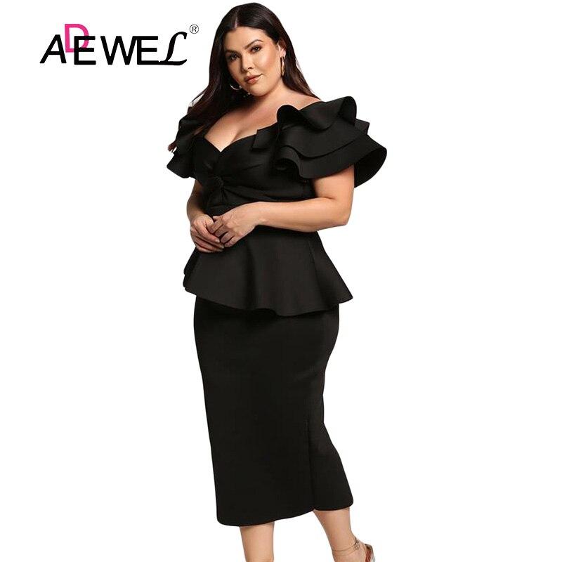 ADEWEL Formal Plus size Ruffle Short Sleeve Work Office Midi Dress Women Elegant Bodycon Party Peplum Dress Large Size 5XL