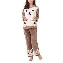 Зима коралловый флис Для женщин теплые фланелевые пижамы комплект пижамы милый медведь Топы корректирующие и Брюки для девочек Домашняя одежда пижамы женские