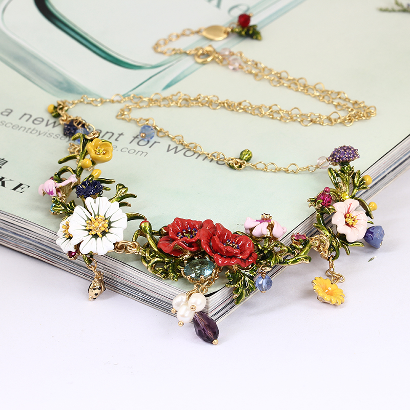 Winter Rosary Garden Series Blooming Flowers Enamel Necklace Gold Colar Chokers 2017 For Women Christmas Gift Luxury Jewellery цена