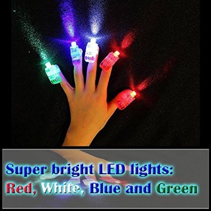 100pcs/lot Mix Color LED Bright Finger Flashlights LITE FINGERS Pary Favor FUN Led Finger Light 4 Color Laser Finger